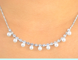 <BR>                  LEAD AND NICKEL FREE!!<BR>S2257NE - ELEGANT NEW! SILVER FINISH<BR>AUSTRIAN CRYSTAL & PEARLS NECKLACE<BR>    & EARRING SET FROM $7.31 TO $13.50