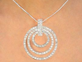 <br>                  LEAD AND NICKEL FREE <BR>W10133NE - POLISHED SILVER FINISH<Br> GENUINE AUSTRIAN CRYSTAL MULTI<Br> CIRCLE DROP NECKLACE & EARRINGS<Br>               FROM $43.90 TO $81.00