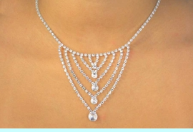"""<BR>                 LEAD AND NICKEL FREE!!<BR>W11624N - GENUINE AUSTRIAN CRYSTAL<br>       MULTI """"V"""" DROP NECKLACE FROM<Br>                          $20.31 TO $37.50"""
