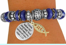 """<BR>                  LEAD AND NICKEL FREE!<BR>         W17281B - """"�I WILL MAKE YOU <br> FISHERS OF MEN"""" BEAUTIFULLY DETAILED<br>          STRETCH RELIGIOUS ICHTHUS <br>          BRACELET FROM $7.31 TO $16.25"""