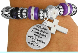 """<BR>                  LEAD AND NICKEL FREE!<BR>         W17325B - """"�FAITH AS SMALL AS <br>          A MUSTARD SEED..."""" BEAUTIFULLY <br>       DETAILED STRETCH RELIGIOUS CROSS <br>          BRACELET FROM $7.31 TO $16.25"""
