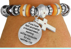 """<BR>                  LEAD AND NICKEL FREE!<BR>         W17327B - """"�FAITH AS SMALL AS <br>          A MUSTARD SEED..."""" BEAUTIFULLY <br>       DETAILED STRETCH RELIGIOUS CROSS <br>          BRACELET FROM $7.31 TO $16.25"""