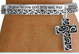 <BR>              LEAD AND NICKEL FREE!<BR>   W17330B - BEAUTIFULLY DETAILED  <br> SILVER TONE FILIGREE CROSS STRETCH <br>      BRACELET FROM $6.75 TO $15.00