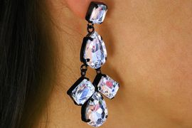 <BR>                   LEAD AND NICKEL FREE<BR> W17335E - BLACK AND CLEAR FACETED<BR>          STONE CHANDELIER EARRING <BR>                  FROM $6.19 TO $13.75