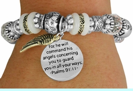 """<BR>                  LEAD AND NICKEL FREE!<BR> W17339B - """"FOR HE WILL COMMAND HIS <br>      ANGELS..."""" BEAUTIFULLY DETAILED <br>         STRETCH RELIGIOUS ANGEL WING  <br>          BRACELET FROM $7.31 TO $16.25"""