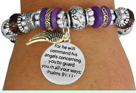 """<BR>                  LEAD AND NICKEL FREE!<BR> W17340B - """"FOR HE WILL COMMAND HIS <br>      ANGELS..."""" BEAUTIFULLY DETAILED <br>         STRETCH RELIGIOUS ANGEL WING  <br>          BRACELET FROM $7.31 TO $16.25"""
