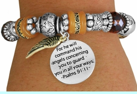 """<BR>                  LEAD AND NICKEL FREE!<BR> W17341B - """"FOR HE WILL COMMAND HIS <br>      ANGELS..."""" BEAUTIFULLY DETAILED <br>         STRETCH RELIGIOUS ANGEL WING  <br>          BRACELET FROM $7.31 TO $16.25"""