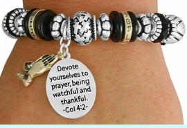 """<BR>               LEAD AND NICKEL FREE!<BR> W17345B - """"DEVOTE YOURSELVES TO  <br>   PRAYER..."""" BEAUTIFULLY DETAILED <br>              LORDS PRAYER STRETCH <br>       BRACELET FROM $7.31 TO $16.25"""