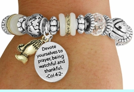 """<BR>               LEAD AND NICKEL FREE!<BR> W17346B - """"DEVOTE YOURSELVES TO  <br>   PRAYER..."""" BEAUTIFULLY DETAILED <br>              LORDS PRAYER STRETCH <br>       BRACELET FROM $7.31 TO $16.25"""