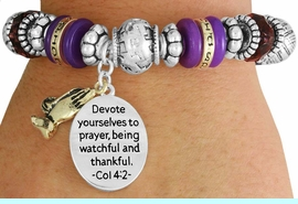 """<BR>               LEAD AND NICKEL FREE!<BR> W17347B - """"DEVOTE YOURSELVES TO  <br>   PRAYER..."""" BEAUTIFULLY DETAILED <br>              LORDS PRAYER STRETCH <br>       BRACELET FROM $7.31 TO $16.25"""
