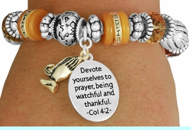 """<BR>               LEAD AND NICKEL FREE!<BR> W17349B - """"DEVOTE YOURSELVES TO  <br>   PRAYER..."""" BEAUTIFULLY DETAILED <br>              LORDS PRAYER STRETCH <br>       BRACELET FROM $7.31 TO $16.25"""