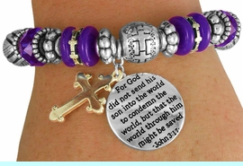 """<BR>                  LEAD AND NICKEL FREE!<BR>       W17370B - """"�THE WORLD THROUGH<br>        HIM MIGHT BE SAVED BEAUTIFULLY <br>    DETAILED STRETCH RELIGIOUS CROSS <br>          BRACELET FROM $7.31 TO $16.25"""