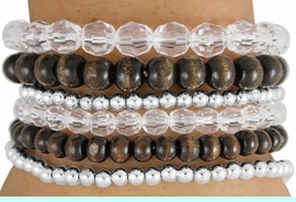 <BR>                    LEAD AND NICKEL FREE!! <BR>      W17825B - 6 WOOD,  SILVER TONE AND<BR>           CLEAR FACETED BEAD STACKABLE <BR>          BRACELETS FROM $4.50 TO $10.00