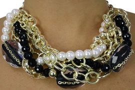 <BR>           LEAD AND NICKEL FREE!! <BR>   W17978NE - BRAIDED BLACK BEAD<BR>          FAUX PEARL BEAD AND GOLD<BR>           TONE CHAIN NECKLACE AND <BR> EARRING SET FROM $11.81 TO $26.25
