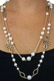 <BR>           LEAD AND NICKEL FREE!! <BR>    W18408N - FAUX PEARL BEAD  <BR>           AND GOLD TONE CHAIN <BR>    NECKLACE FROM $11.81 TO $26.25