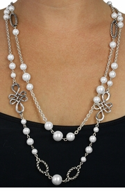 <BR>           LEAD AND NICKEL FREE!! <BR>    W18409N - FAUX PEARL BEAD  <BR>           AND SILVER TONE CHAIN <BR>    NECKLACE FROM $11.81 TO $26.25