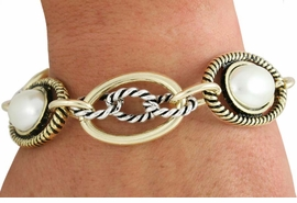 <BR>                LEAD AND NICKEL FREE! <bR>    W18509B - TWO TONE LINK CHAIN & FAUX<Br>    PEARL BRACELET FROM $7.31 TO $16.25