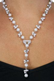 <BR>             LEAD AND NICKEL FREE!! <BR>   W18714NE - CLUSTER WHITE FAUX <BR>    PEARL SILVER TONE NECKLACE AND <BR>EARRING SET FROM $12.94 TO $28.75