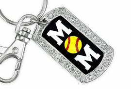 "<BR>      LEAD AND NICKEL FREE!! <BR>W19353KC - ""SOFTBALL MOM"" <BR>GENUINE CRYSTAL AND SILVER <BR>     TONE DOG TAG KEY CHAIN <BR>        FROM $5.63 TO $12.50"