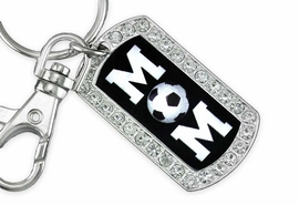 "<BR>      LEAD AND NICKEL FREE!! <BR>    W19355KC - ""SOCCER MOM"" <BR>GENUINE CRYSTAL AND SILVER <BR>     TONE DOG TAG KEY CHAIN <BR>        FROM $5.63 TO $12.50"