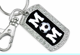 """<BR>      LEAD AND NICKEL FREE!! <BR>    W19355KC - """"SOCCER MOM"""" <BR>GENUINE CRYSTAL AND SILVER <BR>     TONE DOG TAG KEY CHAIN <BR>        FROM $5.63 TO $12.50"""