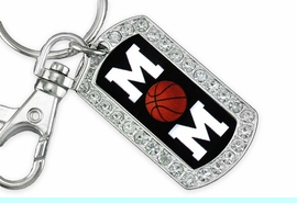 """<BR>      LEAD AND NICKEL FREE!! <BR>W19356KC - """"BASKETBALL MOM"""" <BR>GENUINE CRYSTAL AND SILVER <BR>     TONE DOG TAG KEY CHAIN <BR>        FROM $5.63 TO $12.50"""