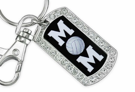 "<BR>      LEAD AND NICKEL FREE!! <BR>W19357KC - ""VOLLEYBALL MOM"" <BR>GENUINE CRYSTAL AND SILVER <BR>     TONE DOG TAG KEY CHAIN <BR>        FROM $5.63 TO $12.50"