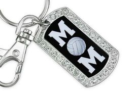 """<BR>      LEAD AND NICKEL FREE!! <BR>W19357KC - """"VOLLEYBALL MOM"""" <BR>GENUINE CRYSTAL AND SILVER <BR>     TONE DOG TAG KEY CHAIN <BR>        FROM $5.63 TO $12.50"""