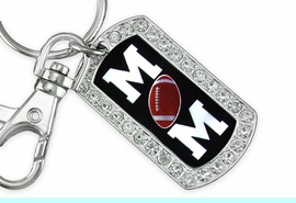 """<BR>      LEAD AND NICKEL FREE!! <BR>W19358KC - """"FOOTBALL MOM"""" <BR>GENUINE CRYSTAL AND SILVER <BR>     TONE DOG TAG KEY CHAIN <BR>        FROM $5.63 TO $12.50"""
