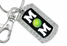 "<BR>      LEAD AND NICKEL FREE!! <BR>   W19359KC - ""TENNIS MOM"" <BR>GENUINE CRYSTAL AND SILVER <BR>     TONE DOG TAG KEY CHAIN <BR>        FROM $5.63 TO $12.50"