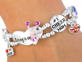 "<BR>                LEAD AND NICKEL FREE!!<br>W3860B - GREAT NEW ""#1 CHEER MOM""<br>      CHEERLEADER STRETCH BRACELET<bR>           ON SALE FOR $8.30 TO $12.50"