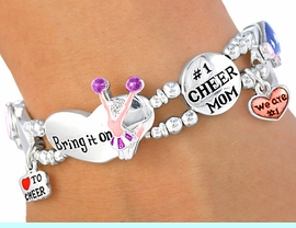 """<BR>                LEAD AND NICKEL FREE!!<br>W3860B - GREAT NEW """"#1 CHEER MOM""""<br>      CHEERLEADER STRETCH BRACELET<bR>           ON SALE FOR $8.30 TO $12.50"""