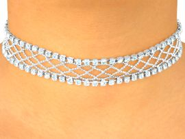 <BR>                  LEAD AND NICKEL FREE!!<BR>W4204N - GORGEOUS NEW SILVER TONE<BR> GENUINE SWAROVSKI CRYSTAL CHOKER<Br>                   FROM $17.88 TO $33.00