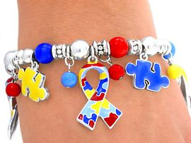 <br>           LEAD AND NICKEL FREE!!<br>W4488B - SILVER FINISH AUTISM<BR>     AWARENESS STRETCH CHARM<BR>   BRACELET FROM $6.75 TO $15.00<BR>                            &#169;2004