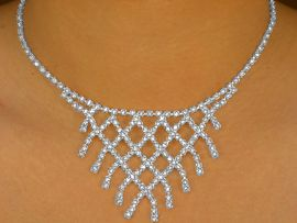 """<BR>                 LEAD AND NICKEL FREE!!<BR>    W6656NE - """"DIAMOND WATERFALL""""<Br>GENUINE AUSTRIAN CRYSTAL NECKLACE<BR> & EARRING SET FROM $17.88 TO $33.00"""