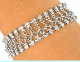 <BR>           LEAD AND NICKEL FREE!!<BR>  W7343B - FACETED SILVER TONE<br>BALL CHAIN & AUSTRIAN CRYSTAL<Br> BRACELET FROM $5.06 TO $11.25