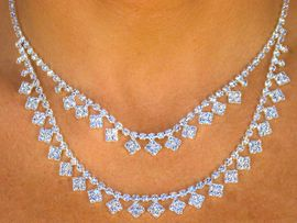 <BR>               LEAD AND NICKEL FREE!!<BR>  W8318NE - STUNNING SILVER TONE<BR>AUSTRIAN CRYSTAL DOUBLE-STRAND<Br>             NECKLACE & EARRING SET<bR>               FROM $29.25 TO $54.00