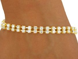 <BR>           LEAD AND NICKEL FREE!!<BR>W8559B - POLISHED GOLD FINISH<Br>DOUBLE-ROW AUSTRIAN CRYSTAL<BR>   LATCH-CLASP BRACELET FROM<Br>                    $4.50 TO $10.00