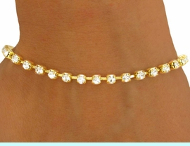 <BR>           LEAD AND NICKEL FREE!!<BR>W8560B - POLISHED GOLD FINISH<Br>3MM AUSTRIAN CRYSTAL SINGLE-<Br>     ROW LATCH-CLASP BRACELET<Br>              FROM $2.25 TO $5.25