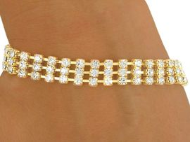 <BR>           LEAD AND NICKEL FREE!!<BR>W8561B - POLISHED GOLD FINISH<Br> 3-ROW 3MM AUSTRIAN CRYSTAL<Br>   LATCH-CLASP BRACELET FROM<Br>                    $6.75 TO $15.00
