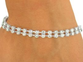 <BR>           LEAD AND NICKEL FREE!!<BR>    W8568B - SILVER FINISH TRIM<br>    DOUBLE-ROW 3MM AUSTRIAN<Br>CRYSTAL LATCH-CLASP BRACELET<Br>               FROM $3.35 TO $7.50