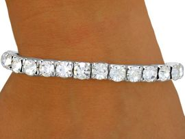 <BR>             LEAD AND NICKEL FREE!!<BR> W8574B - POLISHED SILVER FINISH<Br>  7MM AUSTRIAN CRYSTAL STRETCH<br>   BRACELET FROM $4.50 TO $10.00