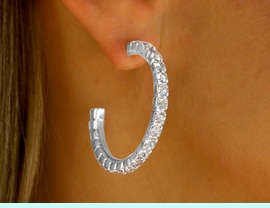 """<BR>             LEAD AND NICKEL FREE!!<BR>  W9416E - POLISHED SILVER TONE<br> HYPOALLERGENIC TITANIUM POST<Br>GENUINE AUSTRIAN CRYSTAL 1 1/2""""<Br>  EARRINGS FROM $5.63 TO $12.50"""