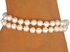 <BR>EACH PEARL IS KNOTTED BY HAND <BR>          LEAD AND NICKEL FREE!!<BR>   W9420B - TWO-ROW GLOSSY <Br>    CREAM FAUX PEARL STRETCH<Br>BRACELET FROM $5.25 TO $10.00