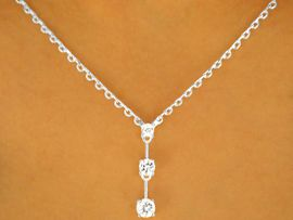 <BR>             LEAD AND NICKEL FREE!!<BR> W9664NE - POLISHED SILVER FINISH<br>  AUSTRIAN CRYSTAL 3-STONE DROP<Br>           NECKLACE & EARRING SET<Br>              FROM $11.38 TO $21.00