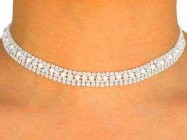 <BR>                   LEAD AND NICKEL FREE!!<BR> W9674NE - GENUINE AUSTRIAN CRYSTAL<Br>  & FAUX PEARL CHOKER & EARRING SET<Br>                    FROM $39.81 TO $73.50