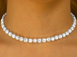 """<BR>               LEAD AND NICKEL FREE!!<BR>W9695N - GENUINE SINGLE ROW 1/4""""<br>        AUSTRIAN CRYSTAL NECKLACE<Br>                FROM $17.88 TO $33.00"""