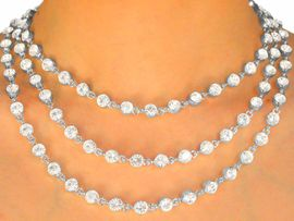 """<BR>                  LEAD AND NICKEL FREE!!<BR>     W9696N - POLISHED SILVER FINISH<br>THREE-STRAND 1/4"""" AUSTRIAN CRYSTAL<br>     NECKLACE FROM $55.25 TO $102.00"""