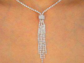 <BR>                   LEAD AND NICKEL FREE!!<BR> W9748NE - GENUINE AUSTRIAN CRYSTAL<br>    TASSEL DROP NECKLACE & EARRINGS<Br>                   FROM $18.69 TO $34.50
