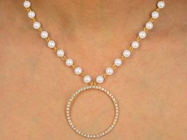"""<BR>               LEAD AND NICKEL FREE!!<bR>W9907NE - GOLD TONE FAUX PEARL &<br>AUSTRIAN CRYSTAL """"CIRCLE OF LOVE""""<Br>      NECKLACE & EARRING SET FROM<Br>                       $13.00 TO $24.00"""